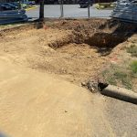 prepped ditch in parking lot