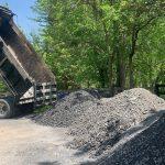 dump truck unloading gravel